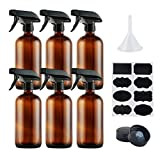 Empty Amber Glass Spray Bottles,Refillable 16 oz Container with Funnel and Labels for Essential Oils, Aromatherapy, Homemade Cleaning Products,Durable Trigger Sprayer w/Mist and Stream Settings-6 Pack