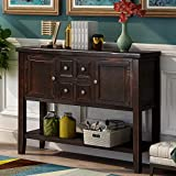 P PURLOVE Console Table Buffet Sideboard Sofa Table with Storage Drawers Cabinets and Bottom Shelf (Dark Espresso)