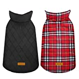 Kuoser Cozy Waterproof Windproof Reversible British Style Plaid Dog Vest Winter Coat Warm Dog Apparel for Cold Weather Dog Jacket for Small Medium Large Dogs with Furry Collar (XS - 3XL) Bright Red S
