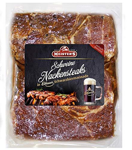 Bautzner Steak Fleisch | Mariniertes Grillfleisch mit Eibauer Schwarzbier Marinade | Frisch mariniertes Steakfleisch für Grill und Pfanne (Schwarzbier, 600 GR)