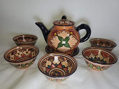 Handmade Brown & Black Floral Uzbek Tea Set
