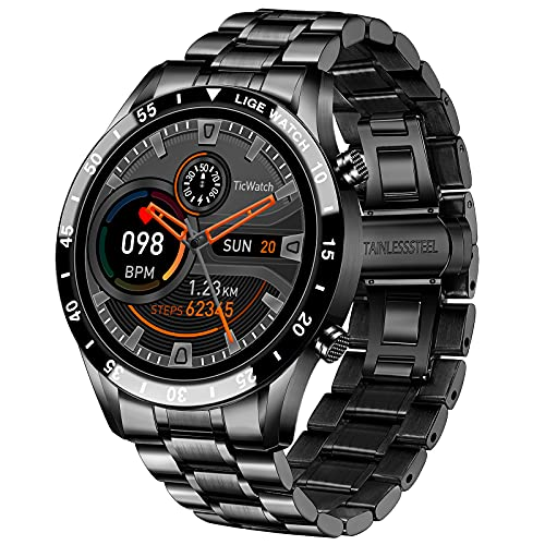 """LIGE Smart Watch for Android iOS, Bluetooth Calls Voice Chat with Heart Rate/Sleep Monitor Fitness Tracker, 1.3"""" Full Touch Screen IP67 Waterproof Stainless Steel Activity Tracker for Men"""