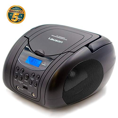 Lauson Lector CD / MP3 | Radio FM/PLL Estéreo Portátil | Lector USB | Pantalla LCD | CD-Player (Negro) CP441