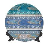 Plato decorativo de cerámica de 20,32 cm, estilo antiguo bizantino, inspirado en cerámica marítima, diseño de peces fractales