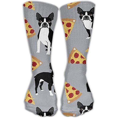Grey Boston Terrier Pizza Men Women's Casual Athletic Stoking 30CM Crew Long Socks