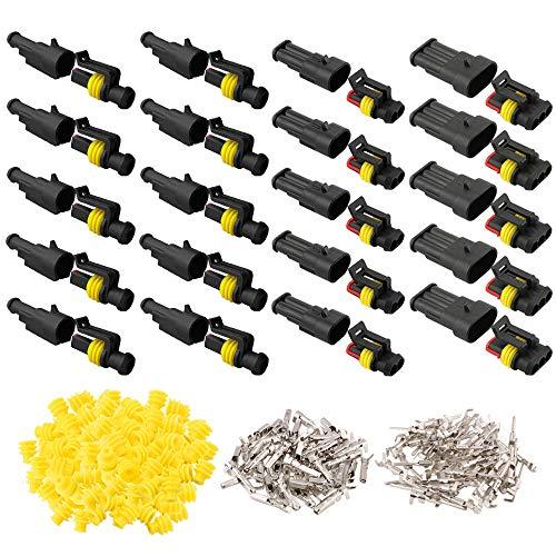 QitinDasen 20 Set Profesional Coche Impermeable Cable Eléctrico Conector Kit, Conectores Sellado Impermeable, Coche Impermeable Rápido Enchufe Terminal (1 Pin 2 Pin 3 Pin)