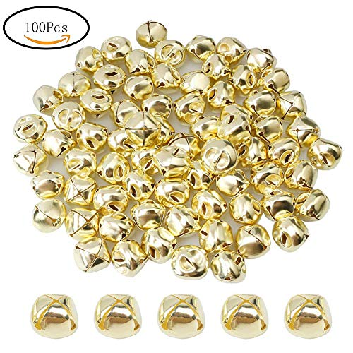 Suneast 100 Stück Weihnachtsglocken, Metallglocken zum Basteln von Schmuck - Gold - 8mm