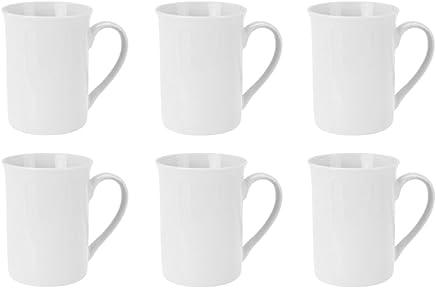 Preisvergleich für Kaffeebecher Kaffeetasse Porzellan Weiß mit Henkel 6 Stück Set Modell-Auswahl, Modell:280 ml zylindrische Form