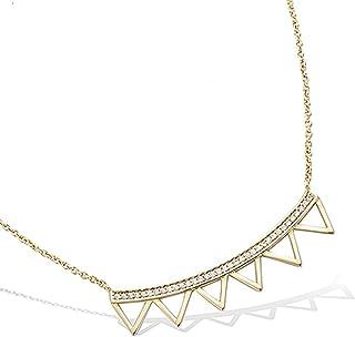 Collana con ciondolo multitriangoli placcato oro e ossido di zirconio