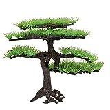 YRA Árbol de bonsái artificial de pino, bonsái, planta artificial en maceta, decoración de interior de plantas verdes