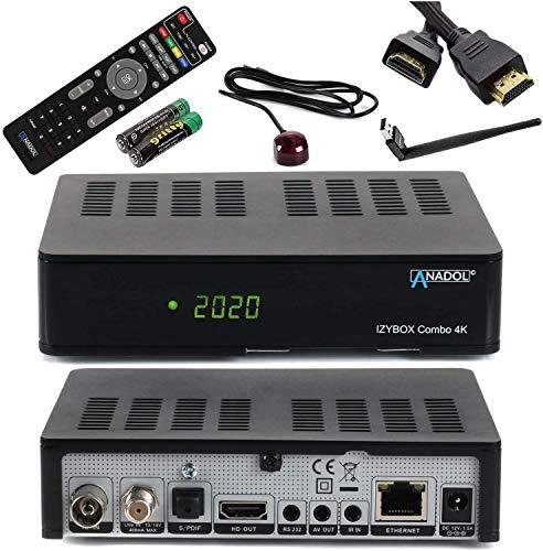 [ Test SEHR GUT *] ANADOL IZYBOX Combo 4K Sat-Receiver, Kabel-Receiver & DVB-T2-Receiver, 2X USB Astra vorinstalliert, PVR Aufnahmefunktion, Timeshift, HDR, + HDMI Kabel & WiFi Stick mit Antenne