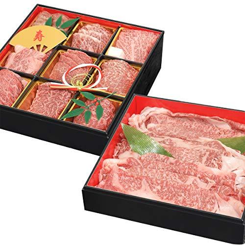 松阪牛 神戸牛 米沢牛 肉おせち 2段重 A5等級 1.2kg 4~5人前 焼肉 しゃぶしゃぶ 国産 黒毛和牛 年末年始 お正月 お祝い料理 2020年12月29日~30日着 冷凍お届け お取り寄せグルメ