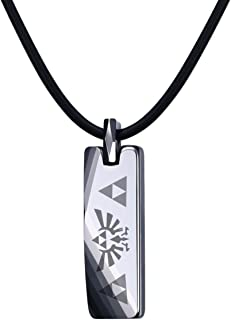 MP Tungsten Carbide The Legend of Zelda Triforce Bar Pendant Necklace for Men,Free Leather Chain