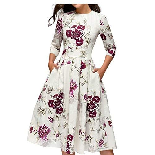 IZHH Damen Mode Rundhalsausschnitt Blume Drucken Burlesque Kostüm Lange Ärmel Burlesque Kostüm Ballkleid Sommer Casual Brautkleid(Weiß,XL)