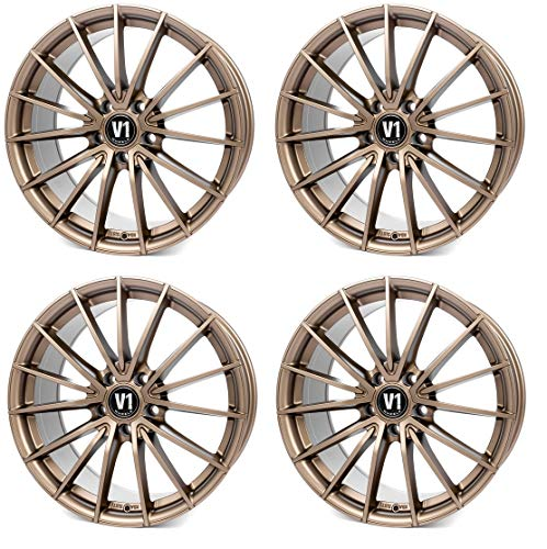 4 x 19 Zoll V1 Wheels V2 Alu Felgen 8,5x19 5x112 ET45 bronze matt lackiert für Karoq 4x4 NU Octavia 2 1Z 3 5E Scout 2 1Z 3 5E Superb 2 3T 3 3T Yeti 5L RS NEU
