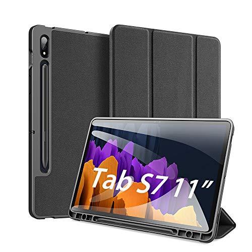 """Custodia per Samsung Galaxy Tab S7 11 inch (SM-T870/875) 2020, DUX DUCIS Slim Smart Protettiva Custodia Cover in Pelle TPU per Samsung Galaxy Tab S7 11"""", Nero"""