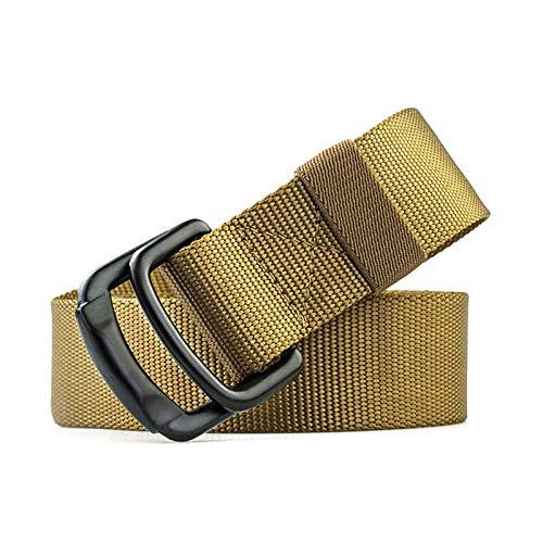 Tactfulw Nylon correa de los hombres militares tácticos al aire libre masculinos vaqueros cinturones de tela D Anillo doble hebilla de cinturón, 100cm