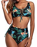 Holipick Green Women Sexy Two Pieces Floral Print Lace Up High Waisted Bikini Swimsuit M