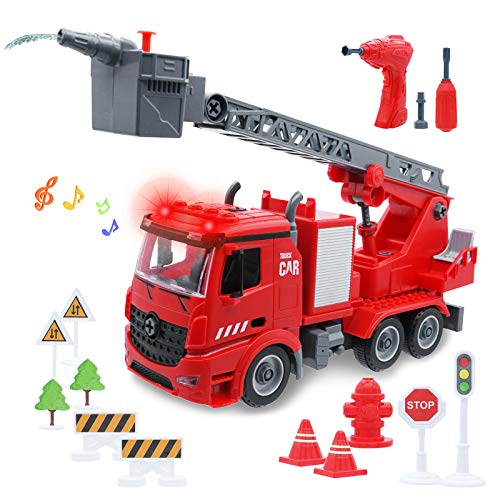 KANKOJO Take Apart Fire Truck Toys with Lights & Sirens, Friction Powered Car Rescue Fire Trucks with Extending Rotating Ladder & Water Tank, Fire Engine Trucks Firefighter Toy Truck for Kids Toddlers