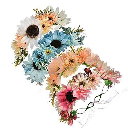Annfly Diadema de crisantemo de simulación exquisita para la playa, decoración de fotos femeninas, 4 piezas, colorido (18 cm)