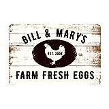 Pattern Pop Personalized Farm Fresh Eggs Rustic Barnwood Look Metal Sign