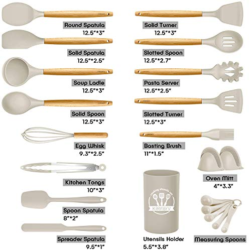 Kinfayv Silicone Cooking Utensils Kitchen Utensil Set, 21 PCS Wooden Handle Nontoxic BPA Free Silicone Spoon Spatula Turner Tongs Kitchen Gadgets Utensil Set for Nonstick Cookware with Holder (Khaki)