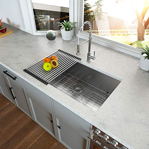 32 Undermount Sink - Kichae 32x19 Kitchen Sink Undermount Single Bowl 18 Gauge Stainless Steel Sink Basin