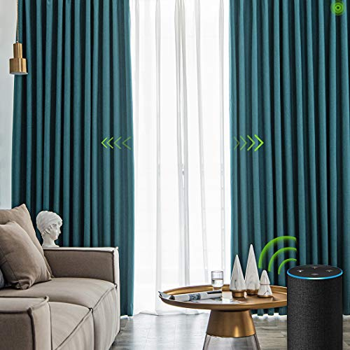 Yoolax Motorized Electric Blackout Curtain Texture Thermal Insulated Drapes Compatible with Alexa and Google Home Remote Control Smart Curtain Customized (Blue, Customize)