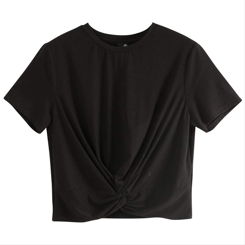 JDBUVYKF Short Sleeve For Women Black O Neck Short Sleeve Fashion Summer Top Short Sleeve For Everyday Life