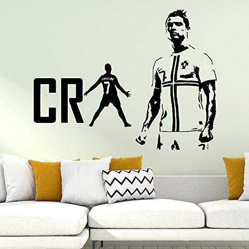 fancjj Cristiano Ronaldo CR Fútbol Pegatinas de Pared A Prueba de Agua Arte de La Pared Decoración para la Sala de Estar Niños Habitación Tatuajes de Pared Decoración para El Hogar 43x49