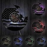Orologio da parete con disco in vinile dell'esercito americano Guardia costiera Bandiera americana Navy Marines Orologio decorativo da veterano vintage Regalo di pensionamento militare con LED