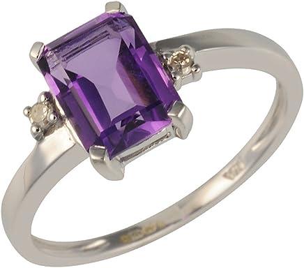 (P) - Ivy Gems 9ct White Gold Princess Cut Amethyst and Diamond Ring