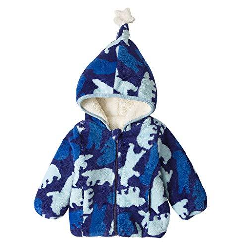 Proumy Kinder Kleidung Winter Warme Mantel Kapuzenjacke Kinderjacke Wintermantel Daunenjacke Baby Jungen Mädchen Fleecejacke mit Kapuze Pullover Tops Warme Kleidung (Blau,Recommeded Age:2-3 Years)