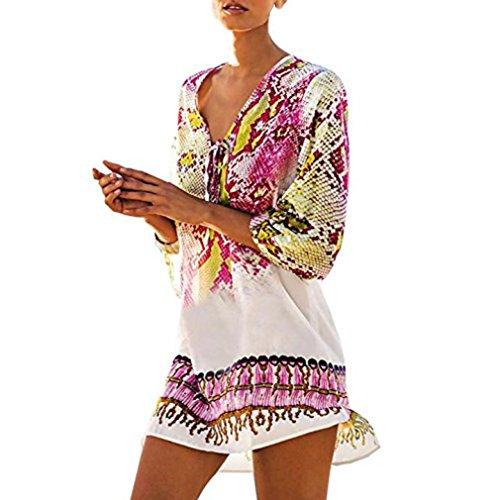 Overdose ImpresióN del O-Cuello De Las Mujeres Encubrir Moda Mejor Venta Bohemia Traje De BañO Beachwear Bikini Vestido (Tamaño Libre, Rosado)