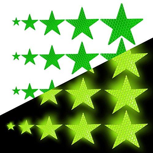 Tuqiang Sternform Reflektierendes Klebeband Wasserdicht Selbstklebend Für Kleidung Rucksack und Gehweg Hohe Sichtbarkeit Band Sicherheit im Freien Reflektierend Aufkleber 25 Stück Grün