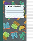 Blank Sheet Music: Cactus And Succulents Cover 8x10' 100 Pages 12 Stave Standard Manuscript Paper / Staff Paper , Musicians Notebook