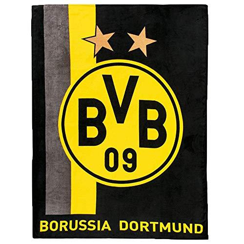 Borussia Dortmund Unisex Bvb-fleecedecke Fleecedecke mit Streifenmuster, Schwarz/gelb, 200 x 150 1 cm EU