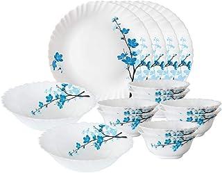 Larah By Borosil Mimosa Opalware Dinner Set, 14-Pieces, White
