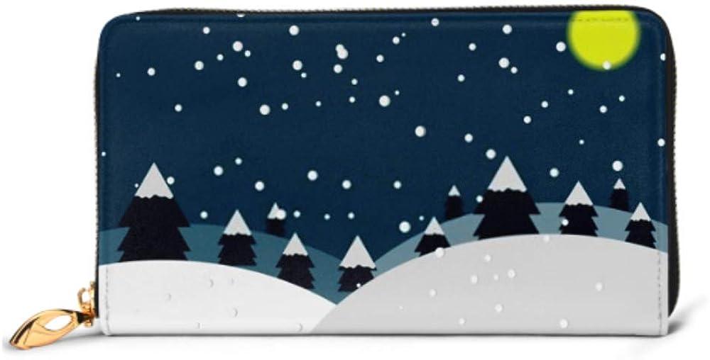 Fashion Handbag Zipper Wallet Night Winter Landscape Christmas Trees Snow Phone Clutch Purse Evening Clutch Blocking Leather Wallet Multi Card Orga