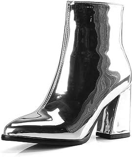 ddb2f383b07e2 HN Boots Femmes Bottines Bloquer Talons Mi-Mollet Bottes Noir Violet  Argenté Bout Pointu Cuir