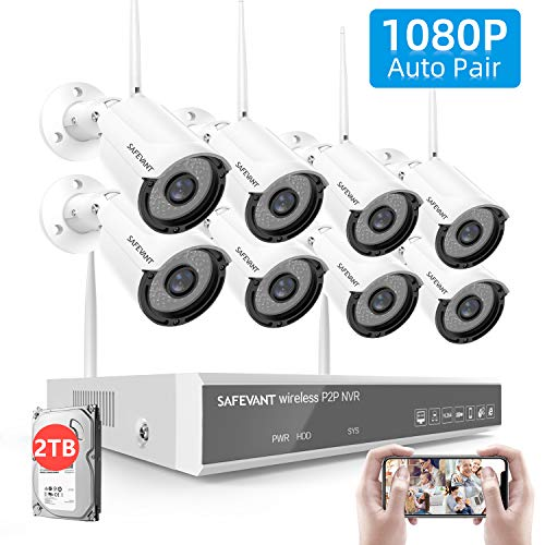 [2TB Hard Drive Pre-Install] 1080P Full HD Security Camera System Wireless,SAFEVANT 8 Channel Home NVR Systems 8pcs 2MP Outdoor Indoor Surveillance Cameras with Night Vision Motion Detection DVR Kits Surveillance