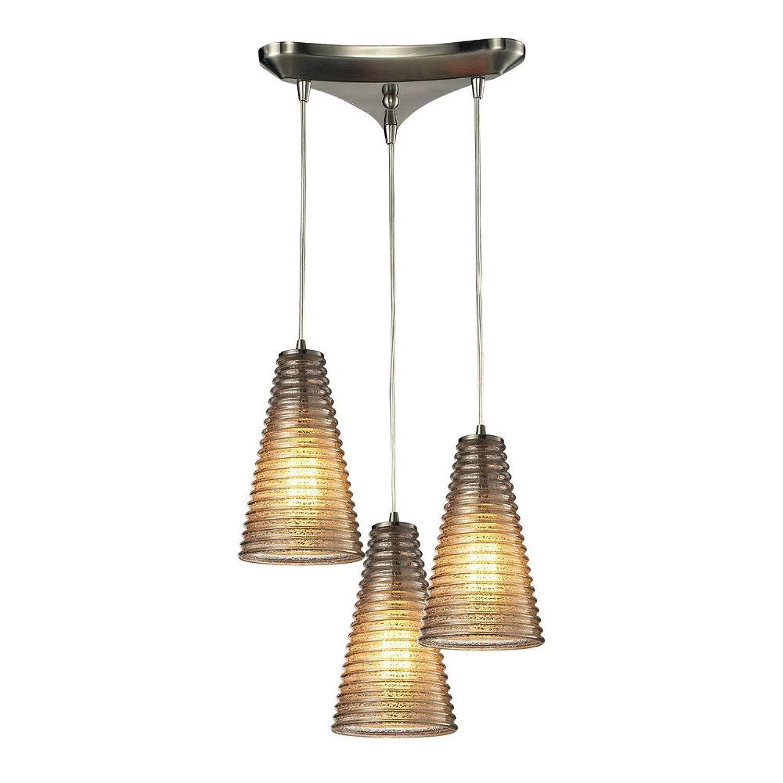 エルク照明10333?/ 3リブ編みガラスコレクション3ライトシャンデリア、サテンニッケル