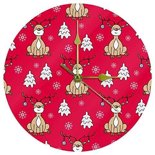 Yoliveya Reloj de pared redondo silencioso de Navidad con ciervos decorativos y silencioso, para regalo, hogar, oficina, cocina, guardería, sala de estar, dormitorio, 25 cm