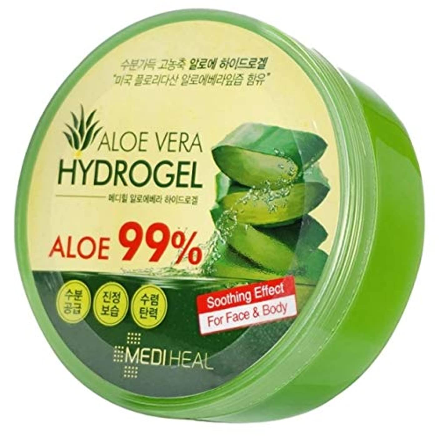 ページ宣伝観点Mediheal メディヒール Skin Soothing なだめるような & Moisture 水分 99% Aloe アロエ Vera Hydro Gels ハイドロゲル