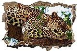 DesFoli Leopard Baum Natur Wald 3D Optik Wandtattoo 70 x 105 cm Wandbild Sticker Aufkleber D073