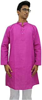 Indian Handicrafts Export Men's Pink Solid Full Sleeve Kurta