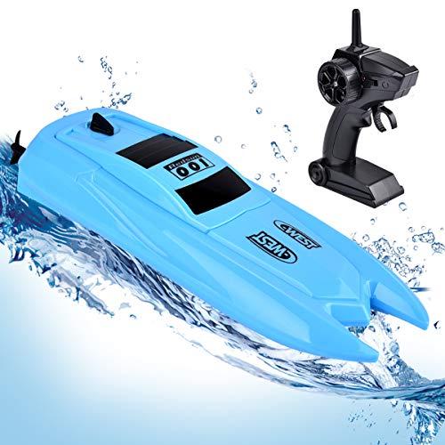 Miavogo RC Boot, Ferngesteuertes Boot Kinder Über 20 Minuten 2,4 GHz Wasserdicht Fernbedienung Spielzeug Schiffe Geschenk für Pool & Outdoor