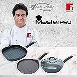 MasterPro Edition Home Black Set 3 SARTENES-Pancake Ø24x2, Wok Ø28 C/T, y Grill 28x28, Negro, inducción, Aluminio Forjado