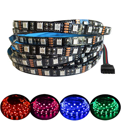 Tesfish 5M RGB LED Lichtleiste 12V Schwarz PCB Board 5050 IP20 300 LEDs LED Streifen Licht für Schlafzimmer, Küche Dekoration