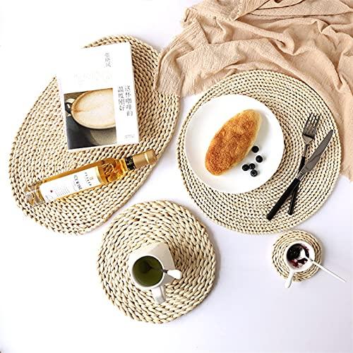 SHUJINGNCE 1pc Ronds Ronds de rotin de rotin Coiffe de Bol Pad Isolant à la Main napperons de Table Rembourrage Tasse Tapis de Cuisine décoration Accessoires (Color : 20cm, Shape Style : Round)